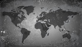 World map on grunge background. Vector saved as eps-10, file contains objects with transparency Royalty Free Stock Photos