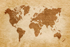 World map on grunge background Stock Photos
