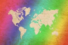 World map on grunge background Stock Photography