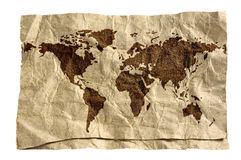 World map on grunge paper. 