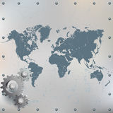 World Map on grunge, scratched, riveted metallic sheet Stock Photography