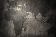 World map on grunge wall background Stock Image