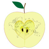World map on the half apple Stock Image