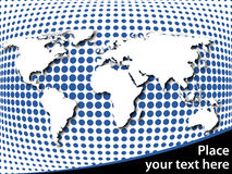 World map on halftone background. With place for your text Royalty Free Stock Image
