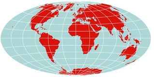 World Map - Hammer Projection Stock Image