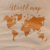 World map hand drawn on craft paper. Vector Stock Photos
