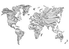 World map hand drawn flower floral design vector Royalty Free Stock Photos
