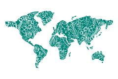 World map Hand drawn with flowers for Valentines Day. Vector flat illustration.  Royalty Free Stock Photo