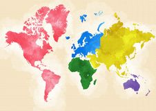 World map, hand drawn, world divided into continents Royalty Free Stock Images