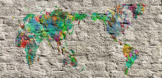 World map with hands in different colors Royalty Free Stock Photo