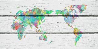 World map with hands in different colors Royalty Free Stock Photos