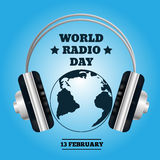 World map with headphones. Music concept radio day eps 10 Stock Images