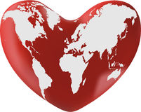 World map on heart. Isolated on white background vector illustration Royalty Free Stock Photos