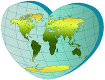 World map in heart with meridians Stock Photos