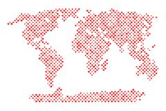 World map with hearts. World map with heart shapes. Vector illustration Royalty Free Stock Photography