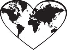 World map in heart royalty free illustration