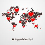 World map with hearts. Valentines day Stock Images