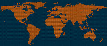 World map of hexagon tiles Royalty Free Stock Images