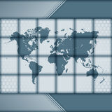 World Map with hexagonal pattern design and squared arrangement Stock Photography