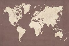 World map. High detailed vintage map illustration of the world planisphere in vintage retro colors Royalty Free Stock Images
