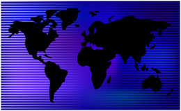 World map. horizontal stripes, bars - abstract vector background.  Blue mesh illustration Royalty Free Stock Photography
