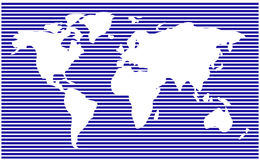 World map. horizontal stripes, bars - abstract vector background.  Blue silhouette illustration Royalty Free Stock Images