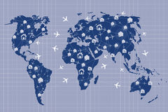 The world map in hotel and flight booking concept Royalty Free Stock Image