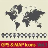 World map icon 1 Royalty Free Stock Image