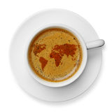 World map icon on coffee. Cup, isolated on white Stock Images