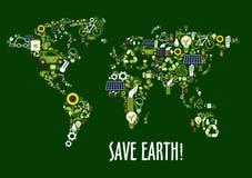 World map icon composed of ecology symbols Royalty Free Stock Photos