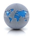 World map icon on globe formed by dollar sign Royalty Free Stock Images