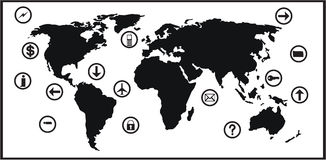 World map and icon set Royalty Free Stock Photography