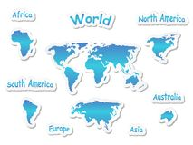 World map icons Royalty Free Stock Images