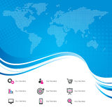World Map with Icons. A world map on a blue background with business icons Royalty Free Stock Photo