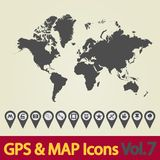 World map icons 7 Stock Images