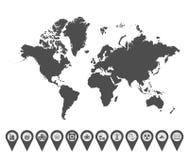 World map icons 6 royalty free illustration