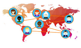 World map with icons of people. Vector. 1 Royalty Free Stock Photo