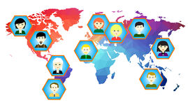 World map with icons of people. Vector. 2 Royalty Free Stock Photos