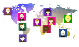 World map with icons of people. Vector. 5 Stock Photo