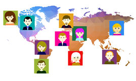 World map with icons of people. Vector. 3 Royalty Free Stock Photography