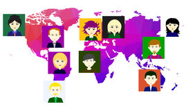 World map with icons of people. Vector. 4 Royalty Free Stock Image