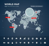 World map with 22 icons Royalty Free Stock Photography