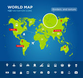 World map with 22 icons Stock Image