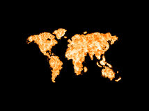 World map illustrated from fire. Map of planet earth in flames. Last minute continents on a black background. The concept of Apocalypses Royalty Free Stock Photography
