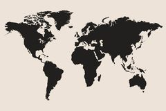 World map illustration. Black world map vector illustration Stock Images