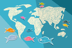 World Map Illustration. Vector World Map Illustration on Blue Paper Background with Origami Fish Stock Photos