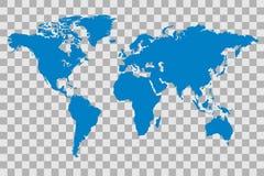 World Map Illustration. Blue world map illustration on a checker background stock illustration