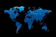 World map 01. Illustration of world map on dark background wit hlights Royalty Free Stock Images