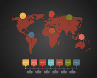 World map - Illustration. World map with different colored continents - Illustration Stock Images