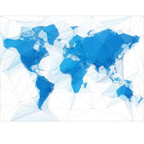 World Map Illustration with largest cities. Triangular World Map with largest cities in the world Stock Images